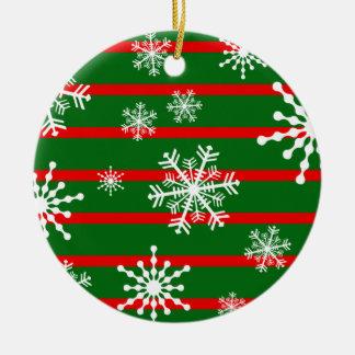 Xmas Stripe & Snowflake Ceramic Ornament