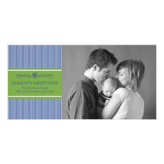 Xmas Stripes Christmas Photo Card (Blue / Green)