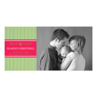 Xmas Stripes Christmas Photo Card (Pale Green/Red)
