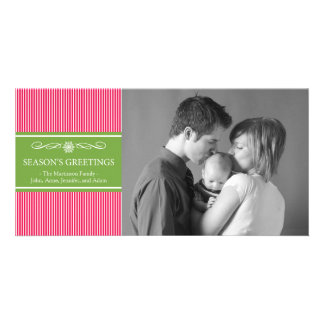Xmas Stripes Christmas Photo Card (Pale Red/Green)
