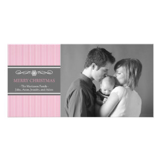 Xmas Stripes Christmas Photo Card (Pink / Gray)
