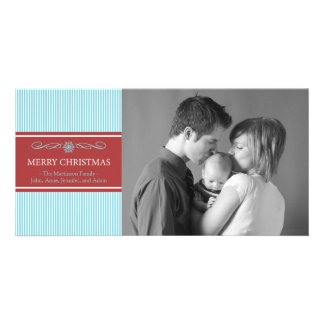 Xmas Stripes Christmas Photo Card (Teal/Burgandy)