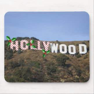 Xmas Stripes & Holly on the Hollywood Sign Mouse Pad