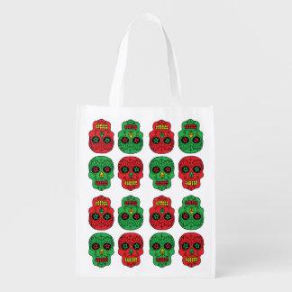 Xmas Sugar Skulls Reusable Grocery Bag