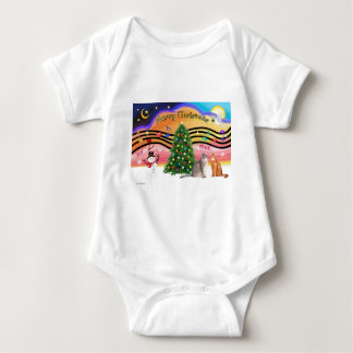 Xmas Sunrise 2 - Two Abyssinian cats Baby Bodysuit