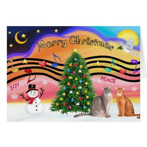 Xmas Sunrise 2 - Two Abyssinian cats Greeting Card