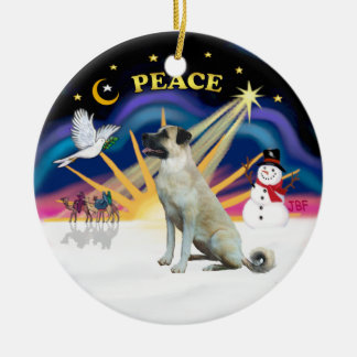 Xmas Sunrise - Anatolian Shepherd - black mask Ceramic Ornament