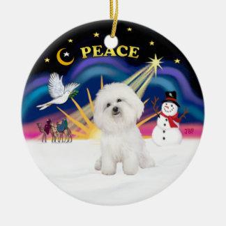 Xmas Sunrise - Bichon Frise 4 Ornament