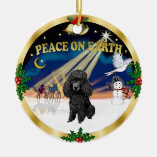 Xmas Sunrise - Black Toy Poodle Ceramic Ornament