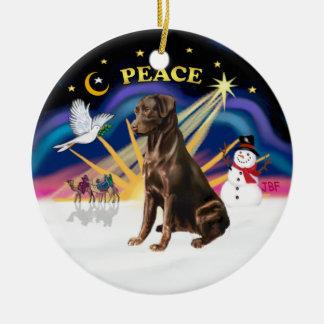 Xmas Sunrise - Chocolate Labrador Christmas Tree Ornaments