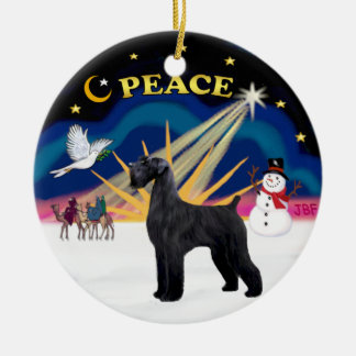 Xmas Sunrise - Giant Black Schnauzer Ceramic Ornament