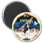 Xmas Sunrise - Tri Color Cavalier King Charles 2 Inch Round Magnet
