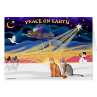 Xmas Sunrise - Two Abyssinian cats Card