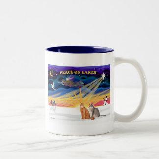 Xmas Sunrise - Two Abyssinian cats Two-Tone Coffee Mug