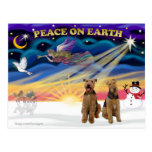 Xmas Sunrise - Two Airedales Postcard