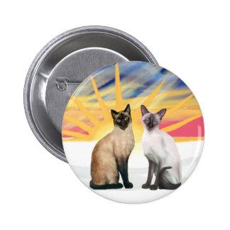 Xmas Sunrise - Two Siamese cats (Seal + Choc) Button