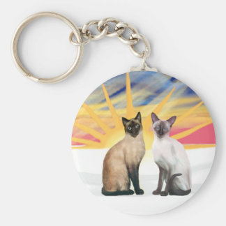 Xmas Sunrise - Two Siamese cats (Seal + Choc) Keychain