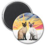 Xmas Sunrise - Two Siamese cats (Seal + Choc) Fridge Magnet