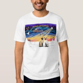 Xmas Sunrise - Two Siamese cats (Seal + Choc) Shirt