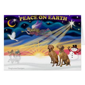 Xmas Sunrise - Two Vizslas Greeting Card