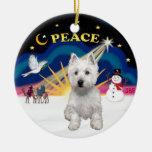 Xmas Sunrise - West Highland Terrier Ceramic Ornament