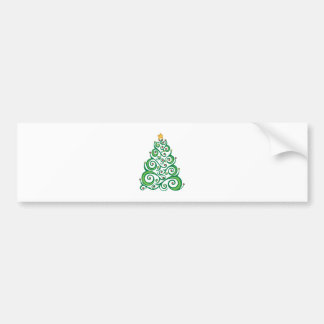 Xmas Swirl Tree Bumper Sticker