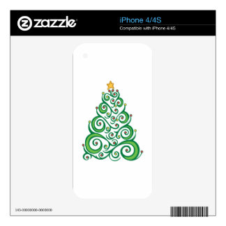 Xmas Swirl Tree Decal For The iPhone 4S