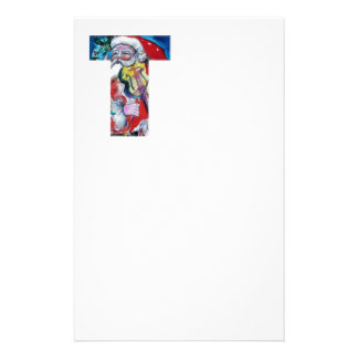 XMAS T LETTER /SANTA  CLAUS WITH VIOLIN MONOGRAM STATIONERY