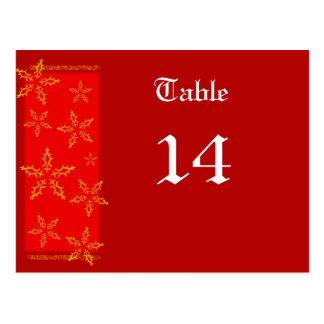 Xmas table number postcard
