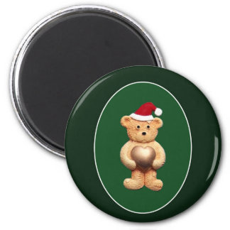 Xmas Ted With Gold Heart 2 Inch Round Magnet