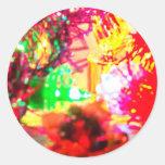 Xmas Tinsel Round Sticker