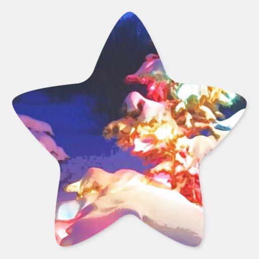 xmas tree 2x star sticker