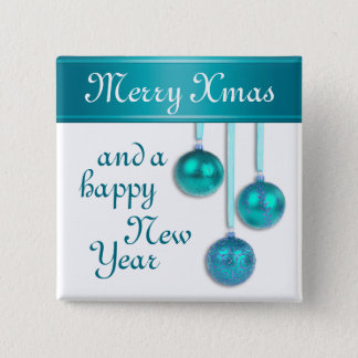 Xmas Tree Baubles turquoise blue + your ideas Button
