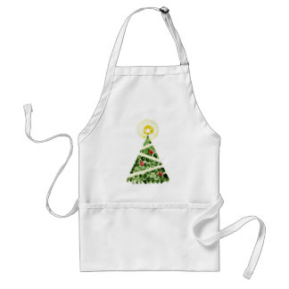 Xmas tree painted with fingers adult apron