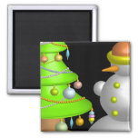 Xmas tree & snowman 2 inch square magnet