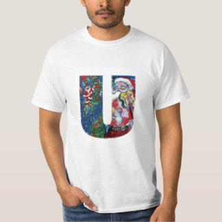 XMAS U LETTER /SANTA  CLAUS WITH VIOLIN MONOGRAM T-Shirt