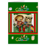 Xmas Vintage Card Merry Christmas Kittens Dog