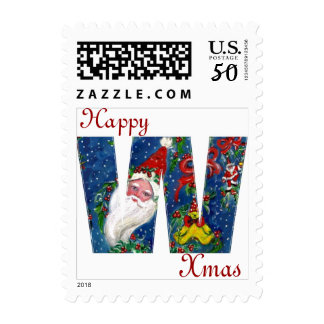 XMAS W LETTER /SANTA CLAUS WITH RED RIBBON AND CAT POSTAGE