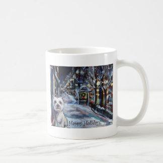 xmas westie happy holiday greeting coffee mugs