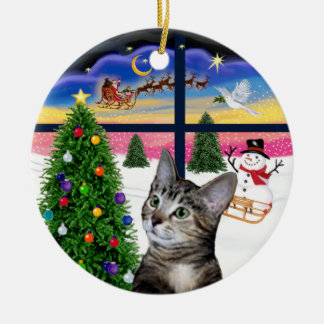 Xmas Window - Brown Tabby Tiger cat Double-Sided Ceramic Round Christmas Ornament