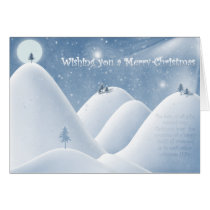 winter, snow, snowy, xmas, christmas, holidays, stars, trees, hills, night, wintery, cold, quote, merry, joyful, joy, gift, season, presents, moon, Card with custom graphic design