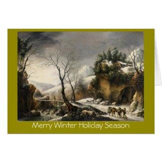 Xmas winter lanscape w/birds New Year greeting