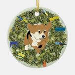 Xmas Wreath Agility Corgi Double-Sided Ceramic Round Christmas Ornament