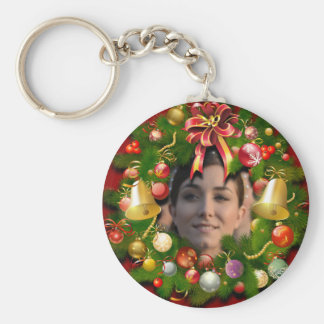 Xmas Wreath Customized With Your Own Photo Keychain