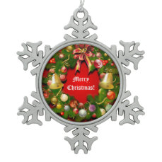 Xmas Wreath With Custom Message Snowflake Pewter Christmas Ornament