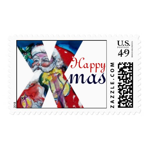 XMAS X LETTER /SANTA  CLAUS WITH VIOLIN MONOGRAM STAMP