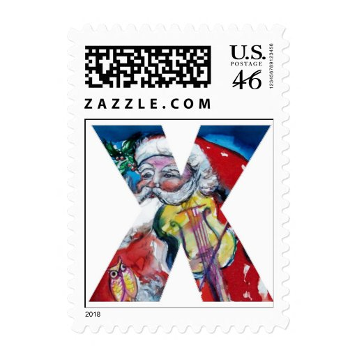 XMAS X LETTER /SANTA  CLAUS WITH VIOLIN MONOGRAM POSTAGE STAMPS