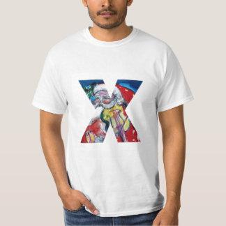 XMAS X LETTER /SANTA  CLAUS WITH VIOLIN MONOGRAM T-Shirt