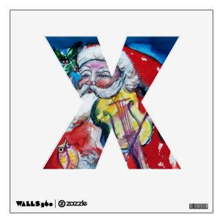 XMAS X LETTER /SANTA  CLAUS WITH VIOLIN MONOGRAM WALL STICKER