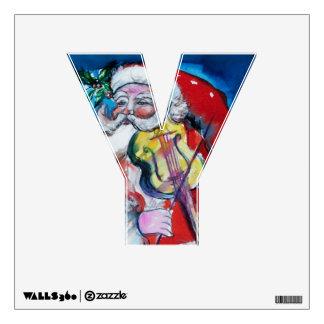 XMAS Y LETTER /SANTA  CLAUS WITH VIOLIN WALL STICKER